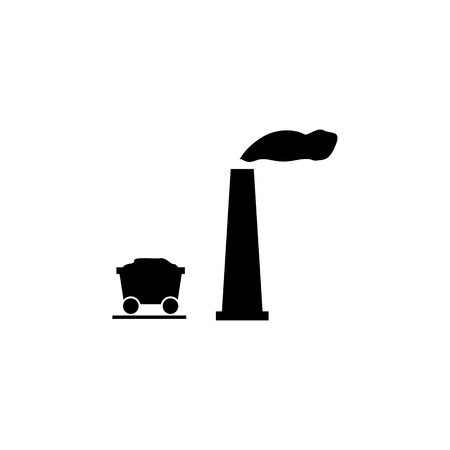 Concept of mining with heavy industry machines and coal truck icon on white background. Ilustração