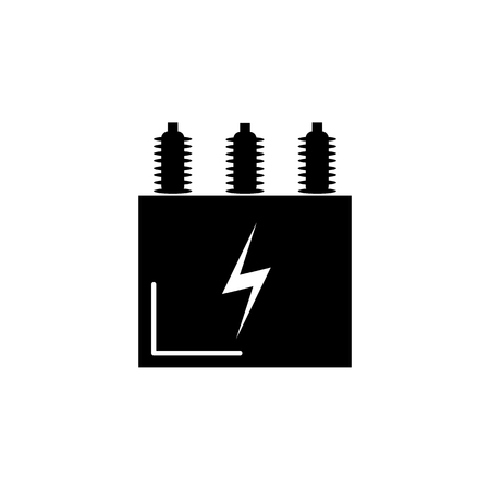 Electric transformer icon on white background.