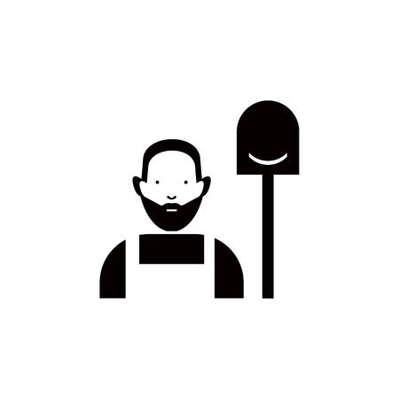 Man with shovel vector icon.