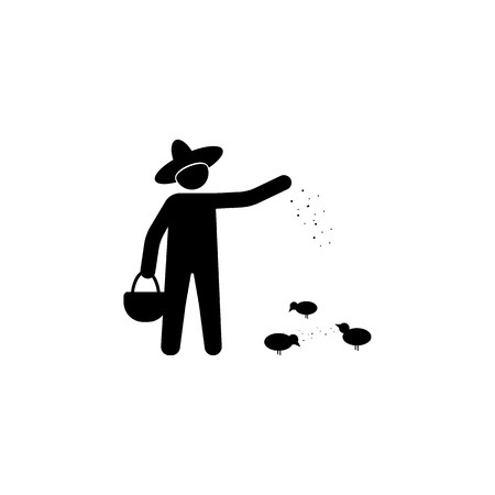 the farmer sows the grain icon. Element of farm for mobile concept and web apps. Icon for website design and development, app development. Premium icon on white background