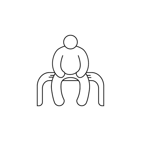 A fat man sits on a bench vector icon.