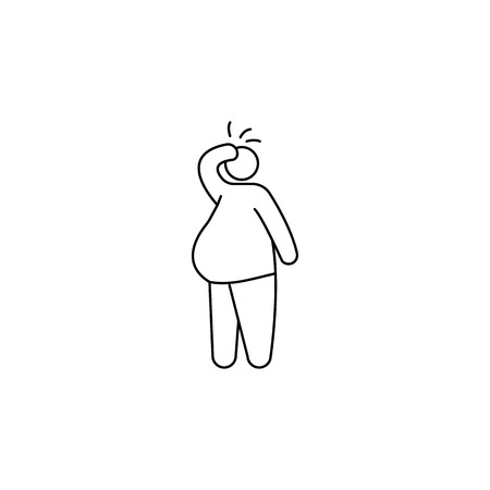 Fat man obesity problems vector icon. Illustration