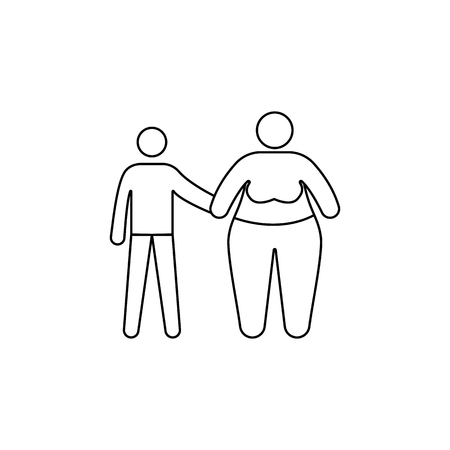 A problem in the family with obesity icon. Element of fast food for mobile concept and web apps. Illustration