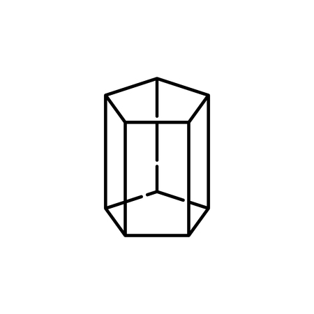 Pentagonal prism icon, geometric figure element for mobile concept and web apps. Thin line icon for website design and development, app development. Premium icon white background on white background.