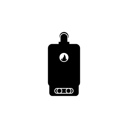 Gas water heating column, Elements of heating system Icon in silhouette illustration on white background.  イラスト・ベクター素材