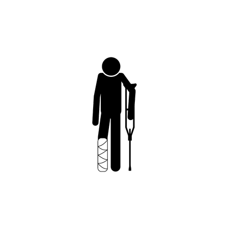 A man with a crutch and a broken leg icon. Elements of Patients in the hospital icon. 向量圖像