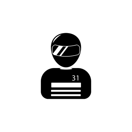 Racer avatar icon in black and white Illustration.