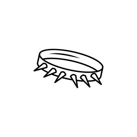Icono de collar con pinchos de silueta monocromo en ilustración en blanco y negro. Ilustración de vector