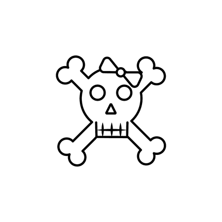 Black and white cute girl skull with a bow icon on white background Illustration