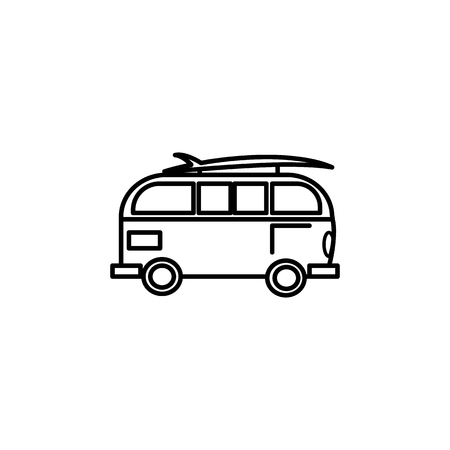 Icon of Old Style Minivan Riding icon on white background Foto de archivo - 96618030