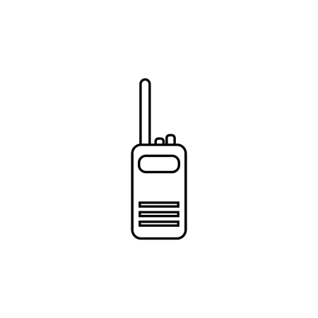 Two way radio, walkie talkie line icon on white background