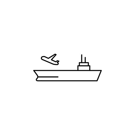 aircraft carrier line icon on white background Vettoriali