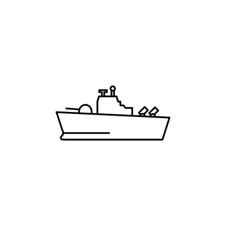 Warship line icon on white background