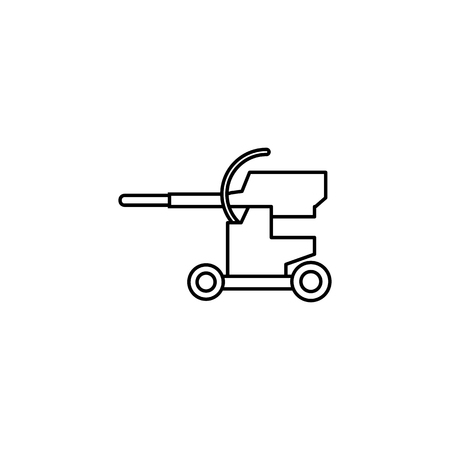 Cannon military line icon on white background