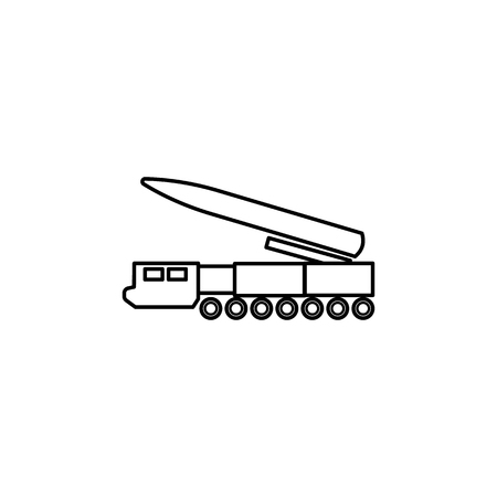Missile system line icon on white background