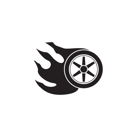 Burning wheel icon. Monster trucks element icon. Premium quality graphic design icon. Baby Signs, outline symbols collection icon for websites, web design, mobile app on white background  イラスト・ベクター素材