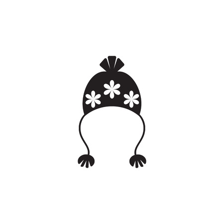 Hat with pompom icon on white background.