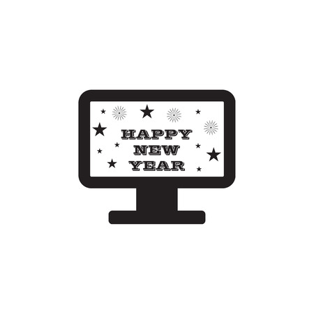 New Years TV congratulation icon on white background Иллюстрация