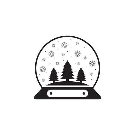 Snow globe ball new year Chrismas icon on white background.
