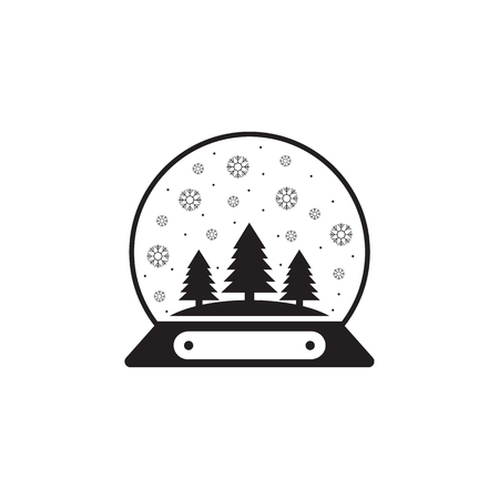 Snow globe ball new year Chrismas icon on white background.
