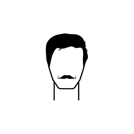 masculine hairstyle and mustache icon.Element hairstyles  icon. Premium quality graphic design. Signs, symbols collection icon for websites, web design, on white background Illustration