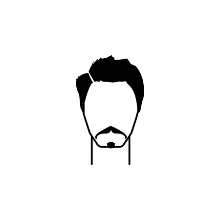 Masculine hairstyle and mustache icon vector illustration