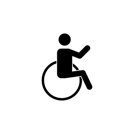 Silhouette on a wheelchair icon on white background Illustration