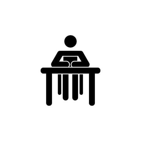 Silhouette of a woman sitting behind a book icon on white background.