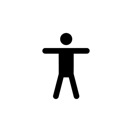 Silhouette of a man who raised his hands icon on white backdrop