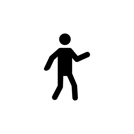 Dancing Silhouette man icon on white backdrop