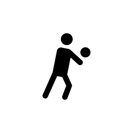 Volleyball player silhouette icon on white backdrop