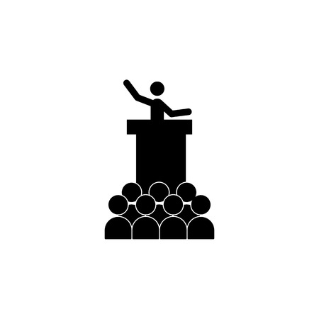 A man speaks to a crowd icon Elements of protest and rallies icon.