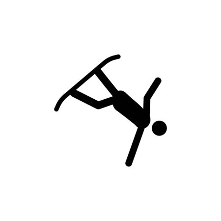 Silhouette snowboarder athlete isolated icon. Winter sport games discipline. Black and white design vector illustration. Web pictogram icon symbol for infographics on white background