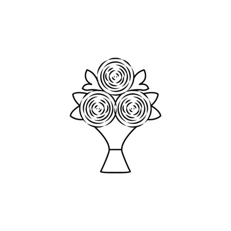 bouquet of flowers icon. Element of wedding for mobile concept and web apps illustration. Thin line icon for website design and development, app development. Premium icon on white background