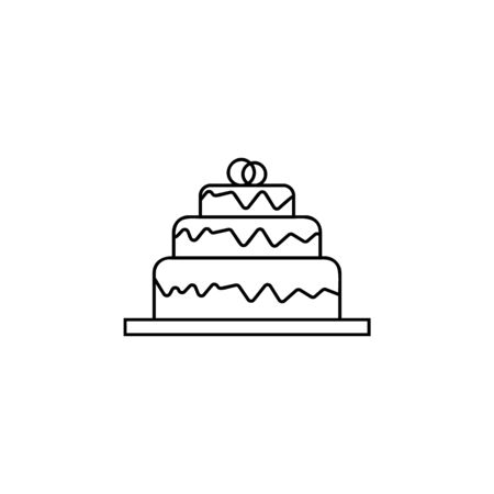a wedding cake icon. Element of wedding for mobile concept and web apps illustration. Thin line icon for website design and development, app development. Premium icon on white background Ilustração