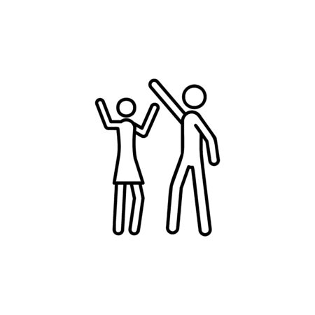 dancing icon. Element of wedding for mobile concept and web apps illustration. Thin line icon for website design and development, app development. Premium icon on white background Illustration