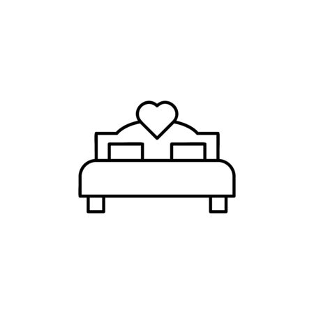 bed of lovers icon. Element of wedding for mobile concept and web apps illustration. Thin line icon for website design and development, app development. Premium icon on white background Archivio Fotografico - 133148733