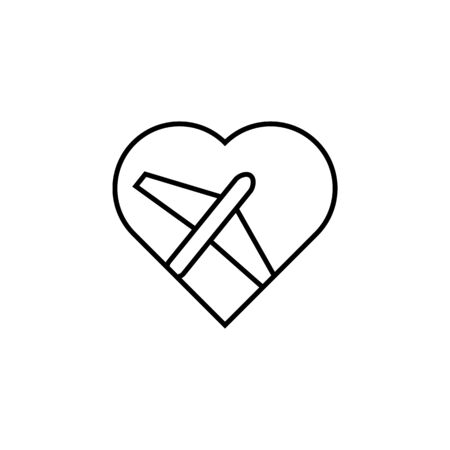 airplane in the heart icon. Element of wedding for mobile concept and web apps illustration. Thin line icon for website design and development, app development. Premium icon on white background
