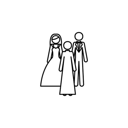 newlyweds and shepherd icon. Element of wedding for mobile concept and web apps illustration. Thin line icon for website design and development, app development. Premium icon on white background Иллюстрация