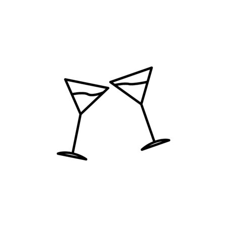 cocktail glasses icon. Element of wedding for mobile concept and web apps illustration. Thin line icon for website design and development, app development. Premium icon on white background