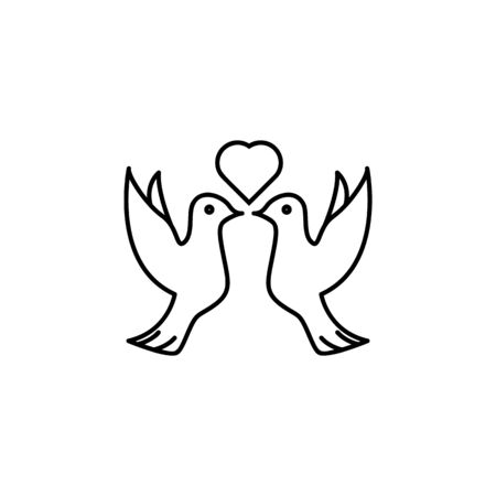 pigeons and heart icon. Element of wedding for mobile concept and web apps illustration. Thin line icon for website design and development, app development. Premium icon on white background Banque d'images - 133149004