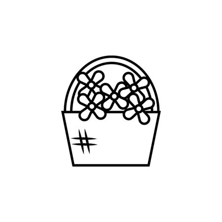 a basket of flowers icon. Element of wedding for mobile concept and web apps illustration. Thin line icon for website design and development, app development. Premium icon on white background
