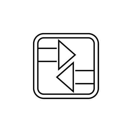 two sided arrow in a square icon. Thin line  icon for website design and development, app development. Premium icon on white background Banque d'images - 133105621