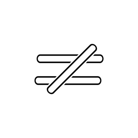 the sign is not equal to icon. Thin line  icon for website design and development, app development. Premium icon on white background Illustration