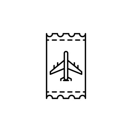 Travel airplane ticket outline icon. Elements of travel illustration icon. Signs and symbols can be used for web, logo, mobile app, UI, UX on white background Illustration