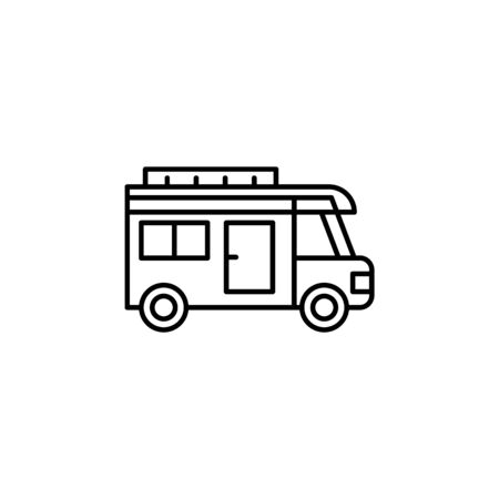 Travel van outline icon. Elements of travel illustration icon. Signs and symbols can be used for web, logo, mobile app, UI, UX on white background Stock Vector - 133220908