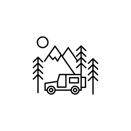Travel SUV outline icon. Elements of travel illustration icon. Signs and symbols can be used for web, logo, mobile app, UI, UX on white background Banque d'images - 133220909