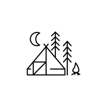 Travel camping outline icon. Elements of travel illustration icon. Signs and symbols can be used for web, logo, mobile app, UI, UX on white background