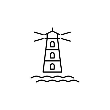 Travel lighthouse outline icon. Elements of travel illustration icon. Signs and symbols can be used for web, logo, mobile app, UI, UX on white background Ilustração