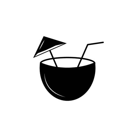 Coconut cocktail icon on white background 向量圖像